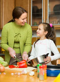Mother with daughter cooking at kitchen Royalty Free Stock Photography