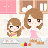 Mother and daughter cooking. In the kitchen vector illustration
