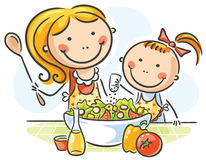 Mother and daughter cooking. Together stock illustration