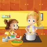 Mother and daughter cooking together. Illustration of a mother and daughter cooking together vector illustration