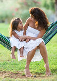 Mother and daughter are in the country side. Royalty Free Stock Photography