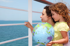 Mother and daughter on cruise liner deck Stock Image