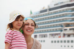 Mother and daughter, cruise ship on background Stock Photography
