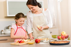 Mother and daughter cutting apples for pie Royalty Free Stock Photos