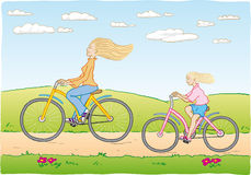 Mother and daughter cycling. Illustration of mother and daughter cycling Royalty Free Stock Images