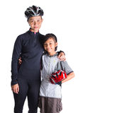 Mother and Daughter Cycling Attire IX. Mother and daughter with cycling attire over white background Royalty Free Stock Photos