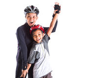 Mother and Daughter Cycling Attire VII. Mother and daughter with cycling attire over white background Royalty Free Stock Photo