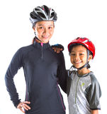 Mother and Daughter Cycling Attire VIII. Mother and daughter with cycling attire over white background Royalty Free Stock Photos