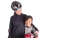 Mother and Daughter Cycling Attire X Stock Images