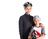 Mother and Daughter Cycling Attire XI. Mother and daughter with cycling attire over white background Royalty Free Stock Photos