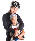 Mother and Daughter Cycling Attire XII. Mother and daughter with cycling attire over white background Stock Photography