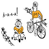 Mother and daughter cyclists comic illustration Stock Image