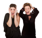 Mother and daughter desperation. Woman expression and emotion portrait Stock Photos
