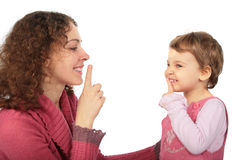 Mother and daughter do gesture more silently Stock Images