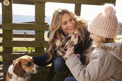 Mother, daughter and dog by a fence in the country, close up Royalty Free Stock Photos