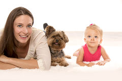 Mother daughter and dog Stock Photography