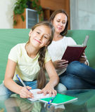 Mother with daughter doing homework Stock Image