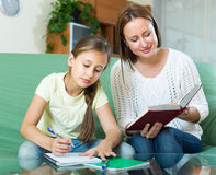 Mother with daughter doing homework Royalty Free Stock Image