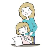 Mother and daughter doodle style-Vector character design. Mother helping daughter doing homework. For Happy family concept. Cartoon vector characters isolated on Stock Photography