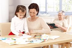 Mother and daughter drawing Stock Photography