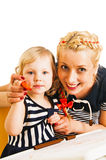 Mother and daughter drawing royalty free stock images