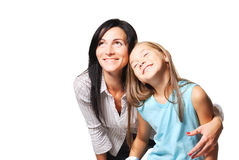 Mother with daughter dreaming. White background Royalty Free Stock Images