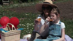 Mother and daughter drinking juice in a park during a picnic stock footage