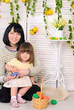 Mother and daughter in easter interior royalty free stock photos