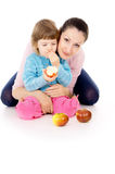 Mother and daughter eat apples Royalty Free Stock Photos
