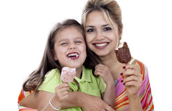Mother And Daughter eating Ice Cream Royalty Free Stock Images