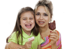 Mother And Daughter eating Ice Cream Stock Photography