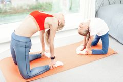 Mother and daughter are engaged in yoga in sportswear. They are in a bright room with panoramic windows. Stock Photography