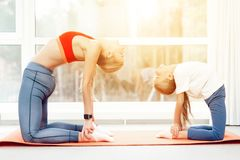 Mother and daughter are engaged in yoga in sportswear. They are in a bright room with panoramic windows. Royalty Free Stock Photography