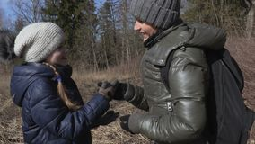 Mother and daughter enjoy early spring days. Stock footage video stock footage