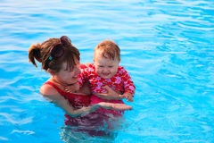 Mother and daughter enjoy swimming on vacation Stock Photography