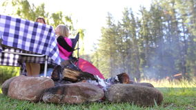 Mother And Daughter Enjoying Meal On Camping Holiday stock footage