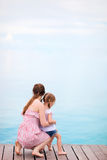 Mother and daughter enjoying sea views Royalty Free Stock Photography