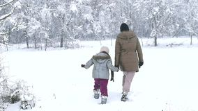 Mother and daughter enjoying the snow. In wood stock video