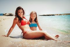 Mother And Daughter Enjoying On Summer Vacation Stock Photography