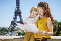 Mother and daughter exploring attractions in Paris, France Royalty Free Stock Images