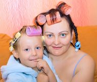 Mother, daughter,family, housewife; two. Royalty Free Stock Photo