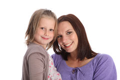 Mother and daughter family portrait happy smiles royalty free stock images