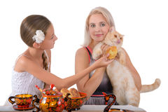Mother and daughter. Mother and the daughter feed a red cat with pies Stock Photography