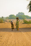 Mother Daughter Fetching Water Jugs Well Royalty Free Stock Images