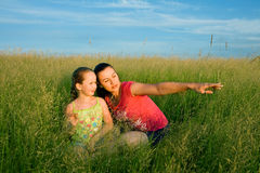 Mother and daughter in field Stock Photos
