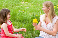 Mother Daughter in a Field royalty free stock image