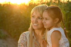 Mother and daughter at field Royalty Free Stock Photography