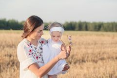 Mother and daugthter in field Stock Images