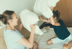 Pillow fight. Stock Images