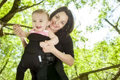 Mother and daughter in forest Stock Photography